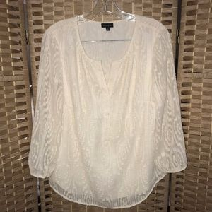 Talbots blouse sheer lined cream color M